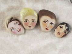 4 Painted stones. Made to order. Beach stone art by sabiesabi