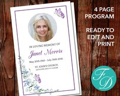Funeral Program Template In Ms Word  Program Template Template