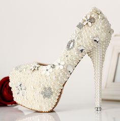 Pearl wedding shoes diamond wedding shoes glass slipper wedding shoes, dress shoes, white shoes with waterproof Taiwan ultra-high-ZZKKO