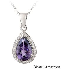 Glitzy Rocks 2 3/4 CTW Gemstone and CZ Teardrop Necklace ($29) ❤ liked on Polyvore featuring jewelry, necklaces, purple, purple pendant necklace, long chain necklace, purple necklace, gemstone pendant necklace and gemstone necklaces