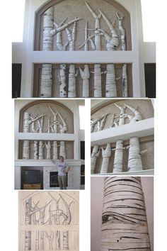 Jamie E. Hatch. Ceramic aspen grove sculpture. One-of-a-kind. 10' tall x 10' wide.