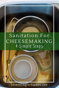 Cheesemaking sanitation is key to culturing the right bacteria and preventing failure. Learn about the 4 steps to sanitizing for cheesemaking. Milk Recipes, Home Recipes, Cheese Recipes, Cooking Recipes, Butter Cheese, Milk And Cheese, How To Make Cheese, Making Cheese, Types Of Cheese