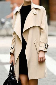 #street #style / cream coat + black dress