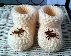 Crochet Baby 3 to 6 month Reindeer Booties by HaldaneCreations