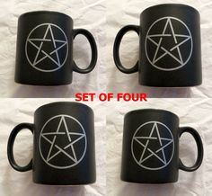 Up for sale are the FOUR ceramic mugs pictured. Each features a Pentacle on both sides of the black mug. These 12oz mugs are both Dishwasher and Microwave safe! I have more Pagan goodies available in