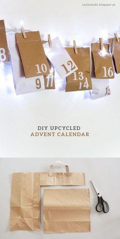Original y sencillo calendario de adviento -Vía http://curlymade.blogspot.pt/