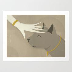 Cat Art Print by Federico Detor Simoni - $20.00