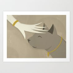 Cat Art Print by Federico Detor Simoni - $20.00