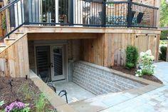 Basement entrance with deck by jan Walkout Basement Patio, Basement Entrance, Basement Windows, Basement Apartment, Basement Stairs, Basement Ideas, Open Basement, Basement Bathroom, Basement Renovations