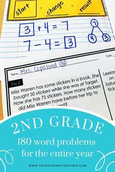 Teaching Plan, Teaching Math, 2nd Grade Math, Second Grade, Special Education Math, Math Blocks, Longest Word, Daily Math, Math Word Problems