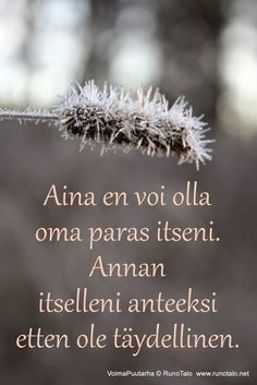 I can not always be my best self, but I forgive myself that I am not perfect. Cool Words, Wise Words, Finnish Words, Finnish Language, Good Sentences, Smart Quotes, Affirmation Cards, Good Thoughts, Funny Texts