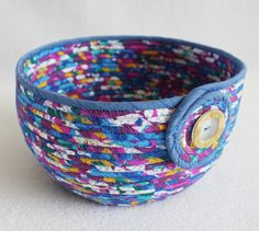 Wildflower Large Round Fabric Coiled Basket / Bowl by PrairieThreads on Etsy