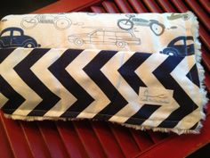 Minky Baby Blanket - SALE with Cars and Chevron