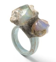 Terhi Tolvanen, Finland, Ring: Aurore, 2010, opal, pear wood, paint, cement