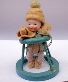 Antique-German-Bisque-Dollhouse-Baby-Doll-Miniature-in-a-walker-Coat-Hat