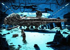 Artist Tim Doyle reimagines famous movie locales into gorgeous illustrations. Pictured:  Star Wars. #film #illustration #drawing #art