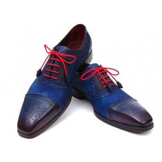 Paul Parkman Men's Captoe Oxfords Blue Suede