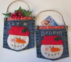 Primitive Snowman Gift Card Holder/ Ornament....made from jean pockets!!