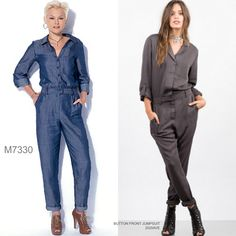 The utility jumpsuit. Sew the look with McCall's M7330 jumpsuit sewing pattern. Look for lightweight cottons, denim, chambrays.