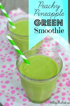 This would be a great way to start your day! Peachy Pineapple Green Smoothie Recipe on 100 Days of #RealFood