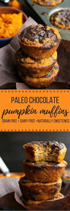 Paleo Pumpkin Muffins with a Chocolate Swirl Top - a simple, one bowl recipe perfect for the perfect fall treat.