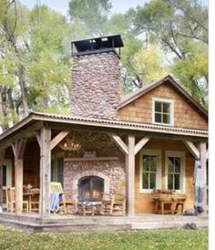 Delicieux Cabin With Amazing Fireplace On Porch