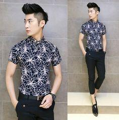 2014 Summer Cool Print Modern Design Men Shirt Asian Model Stylish Slim Fancy Casual Shirts $22.99