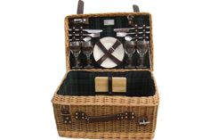 Fitted 4 people wicker picnic hamper basket in Tartan