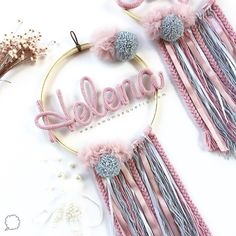 Crafts For Kids, Arts And Crafts, Diy Crafts, Baby Dekor, Personalized Wall Decor, Pink Mobile, Lace Dream Catchers, Macrame Projects, Baby Art