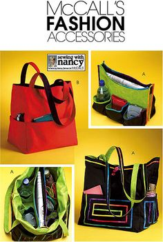 "McCall's 4851 from McCall's patterns is a Tote Bag sewing pattern    Top right is a detachable organiser insert for either bag - both bags 13.5"" x 15"", so a really useful size for a day out, shopping or crafting items. Very versatile."