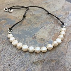 Bohemian Pearl Necklace, Pearls on Cord, Pearls and Silver, 18 inch by EastVillageJewelry on Etsy