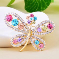#Rhinestone #Brooch #Butterfly #Design http://www.beads.us/product/Rhinestone-Brooch_p355000.html?Utm_rid=219754