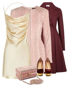 """""""BurgundyPinkGold♕"""" by rgo1 ❤ liked on Polyvore featuring Harris Wharf London, Balmain, Yves Saint Laurent, Charlotte Olympia and Chanel"""