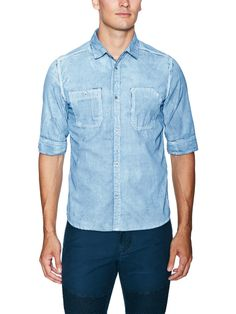 Painted Denim Sportshirt by Rogue at Gilt