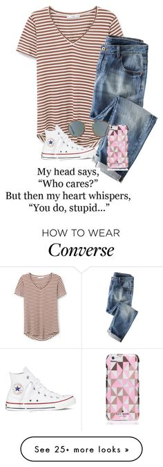 """i really really really really really really like you"" by theperksofbeinghope on Polyvore featuring MANGO, Wrap, Kate Spade, Converse and Ray-Ban"