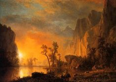 Albert Bierstadt - Sunset in the Rockies Art Print. Explore our collection of Albert Bierstadt fine art prints, giclees, posters and hand crafted canvas products Famous Landscape Paintings, Landscape Art, Sunset Paintings, Oil Paintings, Watercolor Paintings, Sunset Landscape, Albert Bierstadt Paintings, Oil Painting On Canvas, Canvas Art
