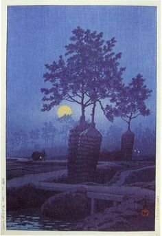 hanga gallery . . . torii gallery: Moon at Gamo by Kawase Hasui