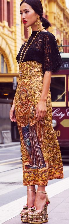 Writing prompt: where is Helen Jeklerd wearing a gold, beaded Dolve and Gabbana outfit like this to?