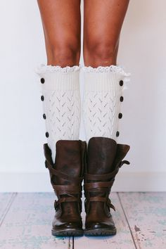 Leg Warmers Lacy Open Knitted Button Up LegWarmers Boot Socks