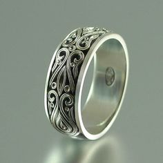 The PRINCE CHARMING 14k white gold mens wedding band by WingedLion, $1080.00
