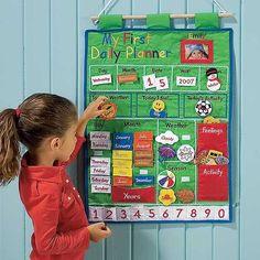 iheartbaby: My First Daily Planner Wall Hanging. Toddler Calendar, Preschool Calendar, Kids Calendar, Preschool Education, Preschool Activities, Teaching Kids, Kids Learning, Preschool Weather, Kids Planner
