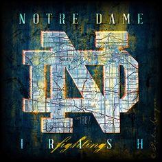 Notre Dame Fighting Irish Map Perfect Graduation by RetroLeague