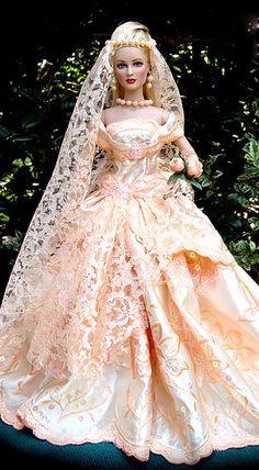 Bride Doll, peach bride dress