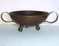 Antique ARTS & CRAFTS Rare RUSSIAN Hand Hammered RICH PATINA Copper BOWL Signed