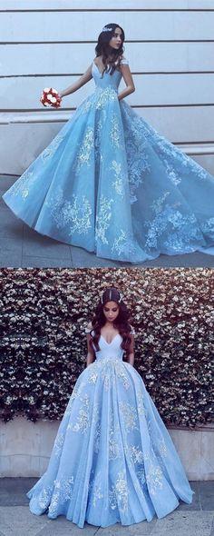 df3bb40592a Light blue prom evening dresses lace appliques 2019 elegant gown