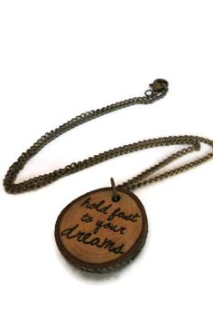 Necklace // Tree Branch // Sustainable Jewelry // Quote // Inspiring // Hold Fast to Your Dreams