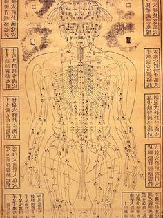 Chinese acupunture chart showing the paths by which vital energy flows around the body, 19th century.Acupuncture is an ancient Chinese medical tradition, believed to date back to around 200BC. The earliest written reference to acupuncture is in the Yellow Emperor's book of medicine, the Nei Jing.