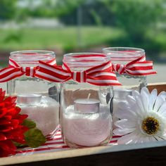 We're showing our pride with some mason jar featuring the tried and true tea-light Tea Light Candles, Tea Lights, Happy Canada Day, Centrepieces, 4th Of July, Red And White, Mason Jars, Pride, Table Decorations
