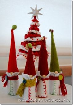I adore this blog that I found (My Life With Scrapbooking), but I must confess that I would love some instructions to make some of these little cuties!  These Gnomies are the perfect addition to any home for the holidays!