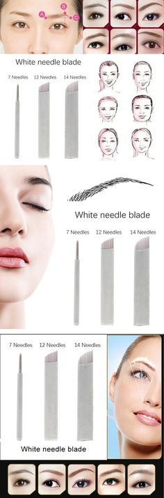 Permanent Microblading Eyebrow Tattoo Needle Manual Makeup Blade 7 Sloped Needles